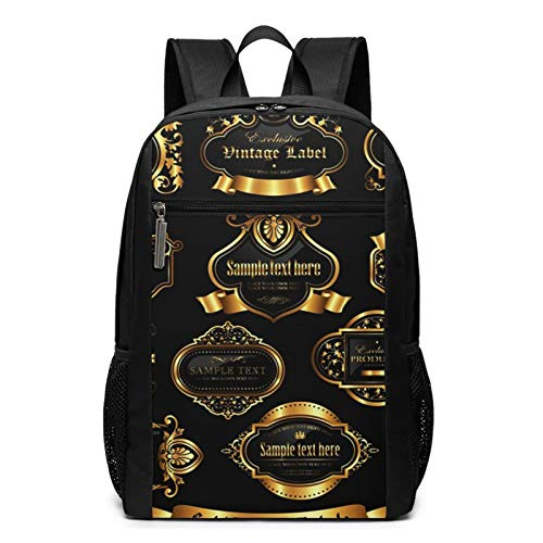 School Backpack Crown Gold Framed Labels 10, College Book Bag Business Travel Daypack Casual Rucksack for Men Women Teenagers Girl Boy