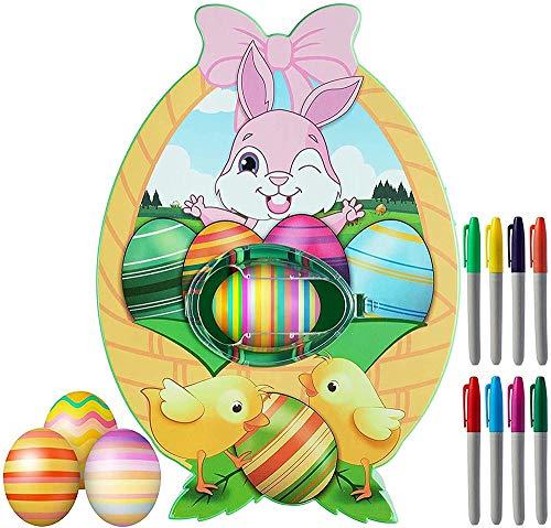 QYHSS Decoración de Huevos de Pascua, Huevos Pintados Bricolaje DIY Huevo de Pascua Kit, 8 Marcadores Coloridos de Secado Rápido, para Niños Regalos de Cumpleaños