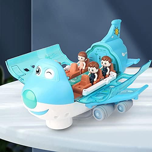ZDYHBFE Electric Q Cute Airliner Light, Music, Steam Plane Boy Girl Avión de juguete Universal Driving Regalos para niños de 3 a 6 años de edad Rotación de 360 grados La carcasa se abre automáticame