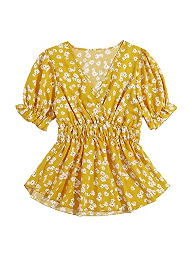 SheIn Women's Surplice V Neck Short Sleeve Floral Peplum Blouse Ruffle Hem Top Yellow X-Large