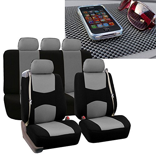 FH Group FB351115 All-Purpose Built-in Seatbelt Seat Covers (Gray) Full Set with Gift – Universal Fit for Cars Trucks & SUVs