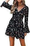 Vestido de Cóctel de Verano para Mujer con Mangas Largas A-línea de Cuello en V Estampado Floral con Cinturón de Cintura Alta (Negro, S)