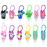 AITIME Hand Sanitizer Holders for Backpack, keychain Empty Refillable Travel Size Lotion Bottles, Cute Plastic Liquid Container for Kids Party Gift(12 Pack)
