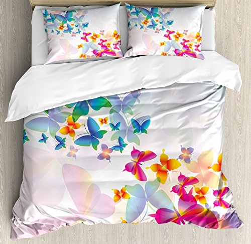 Ambesonne Butterfly Duvet Cover Set, Colorful Flying Butterflies Fairy Tale Graphic Print Supernatural Home, Decorative 3 Piece Bedding Set with 2 Pillow Shams, Queen Size, Orange Pink