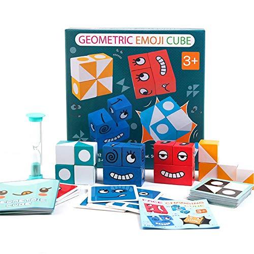 Cubo de rompecabezas de emoji geométrico con 50 tarjetas, paquete de 4 bloques de construcción de madera que cambian la cara, cubos mágicos, juguete de interacción, juego de combinación de emoji