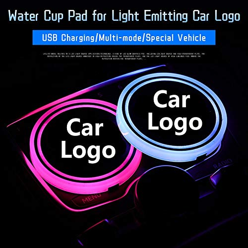 Mmhot-ct 2 PCS Car Cup Holder Led Lights,Colorful Water Cup Mat Lights Seat Trim Accessories For BMW Toyota For Land Rover Audi Logo Decoration Lamp Color Name : For Audi Logo