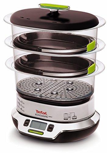 Tefal Vitacuisine Compact VS400333 - Vaporera compacta 1800 W, con 3 pisos para cocción simultánea, 2 cestos, capacidad de 9 L, libro de cocina incluído