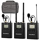 Pixel 100-Channel UHF Metal Professional Wireless Lavalier Microphone Dual Channel Receiver Compatible with DSLR Camera Phones Camcorders Used in Video Recording,Program Hosting and Interview