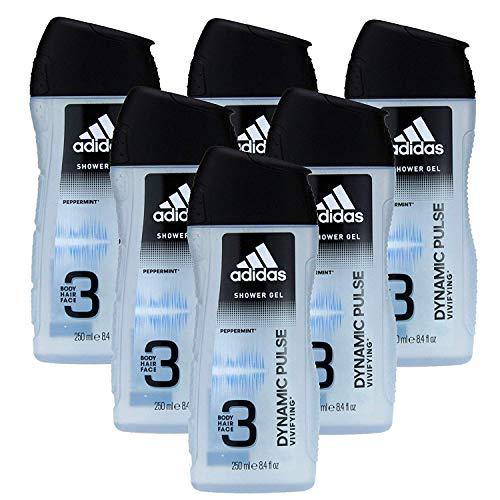 Adidas Dynamic Pulse 3in1 douchegel voor heren, met revitaliserende werking voor lichaam, gezicht en haar, 6 stuks (6 x 250 ml)