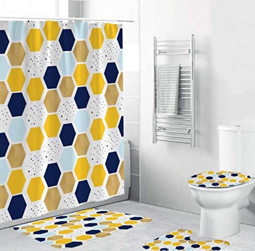 ZHANGZH Juego de alfombras de baño de Simplicidad geométrica, Alfombra de Pedestal Antideslizante, Tapa de Inodoro, Alfombra de baño, Cortina de Ducha Impermeable, para decoración del hogar