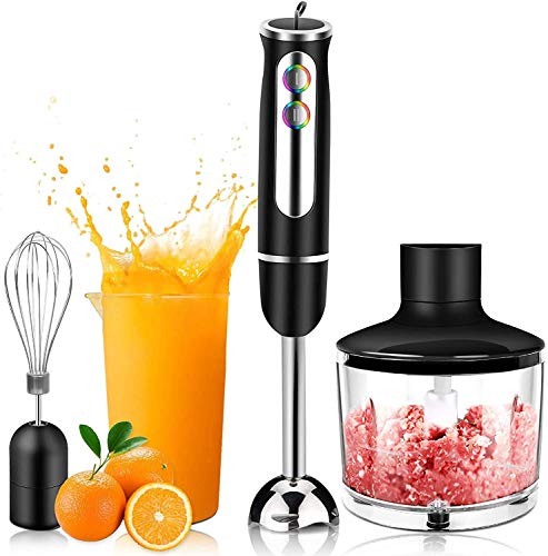 PowCube Hand Blender 4-in-1 Stick Immersion Blender, 8-Speed Electric Whisk Handheld with 860ml Food Processor,600ml Beaker,Egg Whisk for Baby Food, Juices, Sauces and Soup 600W