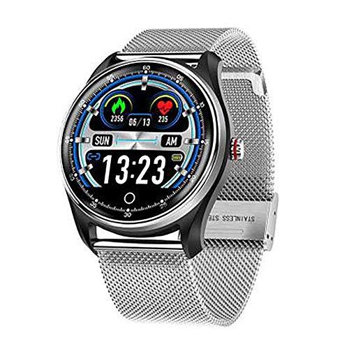 Smartwatch, IPS-Bildschirm, Bluetooth 4.0, magnetisches Laden, Gesundheitserkennung, Berechnung, Schritte, Schlafanalyse, kompatibel mit Android und iOS (Farbe: Silber)