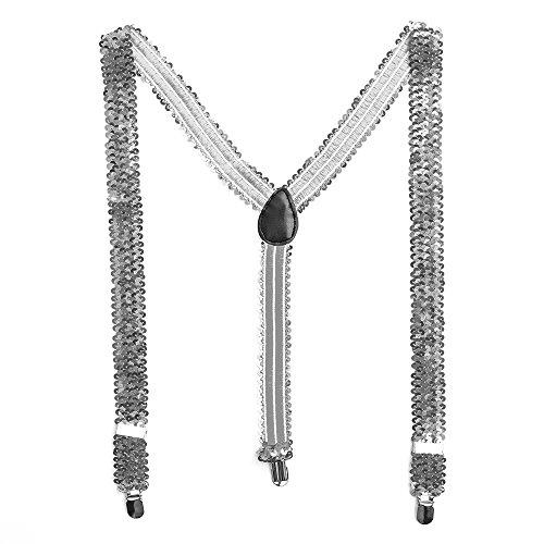 TrendandStylez Bunte Pailletten Y- Hosenträger Glitzer Bundhalter (Silber)