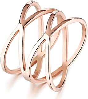 Womens Double X Criss Cross Infinity Ring Engagement Wedding Lady Girls Band