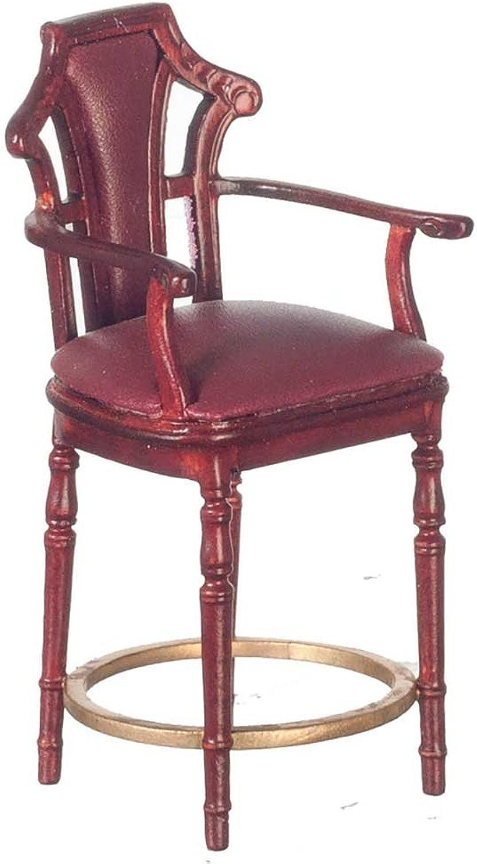Melody Jane Dollshouse JBM Burgundy Leather Bar Stool Mahogany