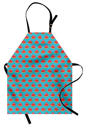 ABAKUHAUS Meloen Keukenschort, Driehoekige segmenten en Zaden, Unisex Keukenschort met Verstelbare Nekband voor Koken en Tuinieren, Sea Blue Donker Zalm