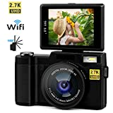 Digital Camera Vlogging Camera 24MP Ultra HD 2.7K WiFi YouTube Camera with 3.0 inch LCD Retractrable Flashlight 180 Degree Rotation Flip Screen Camera for Family Gathering/Travel/Selfie (Black)