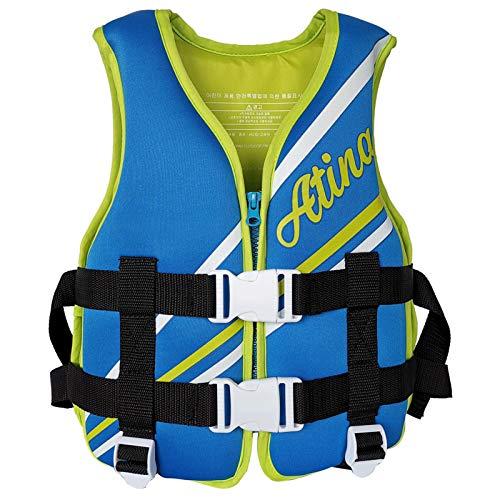 Q-YR Chaleco Salvavidas Infantil Chaleco Profesional Natación Chaleco De Agua Traje De Natación Ajustable De Seguridad para Buceo Y Navegación,Azul,30kg
