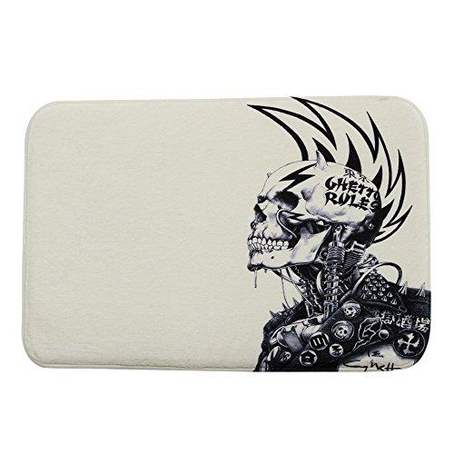 iHome Felpudo de terciopelo coral, 40 cm x 60 cm, negro, punk japonés Samurai, calavera, color beige