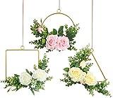 Pauwer Couronne de Fleurs Géométrique en Métal Doré Ensemble Guirlandes de Fleurs de Rose Artificielle et Eucalyptus pour Décor de Mur de Mariage (Rose Cerceau Floral Ensemble de 3, 20CM)