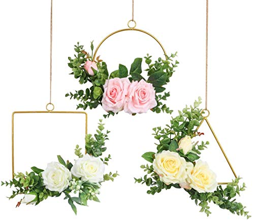 Pauwer Kranz 3er Set Handgefertigt Rose Blumenkranz mit Eukalyptus Golden Metall Ringe Blumen Hoop Wandkranz für Zuhause, Parties, Türen, Hochzeiten(Rose Floral Hoop Set of 3)