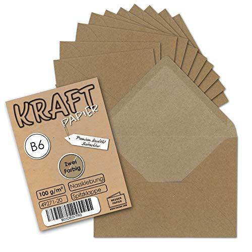 50 Stück I Vintage-Umschläge DIN B6 125 x 176 mm Kraftpapier 100 g/m² braun Recycling Brief-Umschläge Nassklebung I UmWelt by GUSTAV NEUSER®
