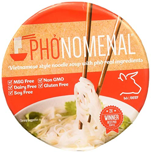 Pho'nomenal Bowl Instant Pho Noodles Gluten Free Low Sodium Vietnamese Beef Soup, No MSG, Authentic Family Recipe, Non GMO, No Soy 2.1 oz. (6 Bowl Pack)