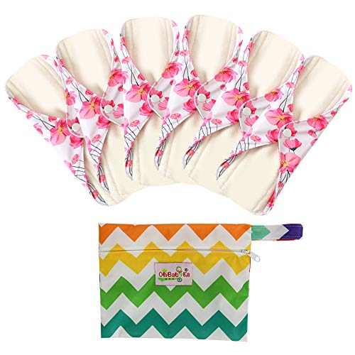6 Stück Slipeinlagen Waschbar aus Bambusfaser, Waschbare Stoffbinden, Wiederverwendbare Binden, mit 1 Tragbare Mini Tasche Wiederverwendbare (Mittel- 25cm /10 inch, Rote Blume)