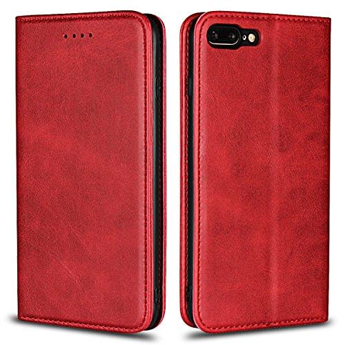 Copmob Funda iPhone 8 Plus,Funda Piel iPhone 7 Plus, Funda Cuero Premium Carcasa Case Soporte Plegable, Ranuras para Tarjetas y Billetes, Estilo Libro, Cierre Magnético para iPhone 8 Plus/7 Plus,Rojo