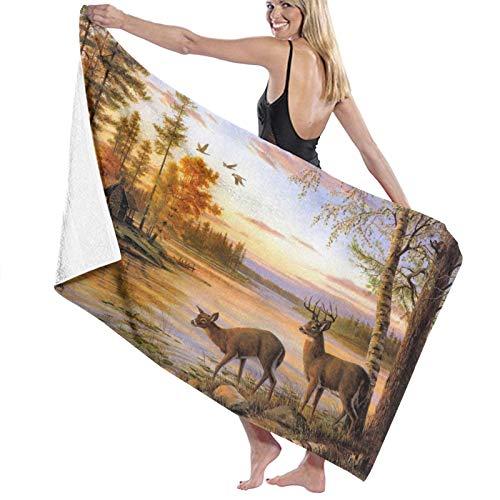 Asciugamani da spiaggia Asciugamani da bagno in microfibra oversize,Alce Animali Tema Cervi Safair Nel Fiume Flus, Morbido asciugamano leggero, viaggi, nuoto, yoga, palestra, 52 x 32 pollici