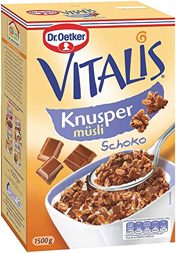 Dr. Oetker Vitalis Knuspermüsli Schoko, Großpackung Knuspermüsli mit Vollmilchschokolade, 4er Packung (4 x 1,5kg)