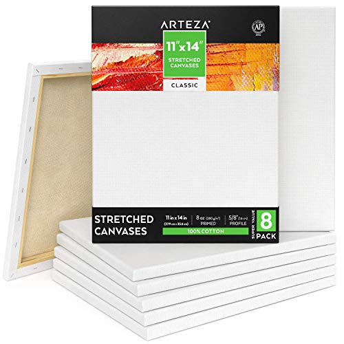 100/% Cotton d ARTEZA 18x24 Stretched White Blank Canvas Pack of 4 Acrylic P