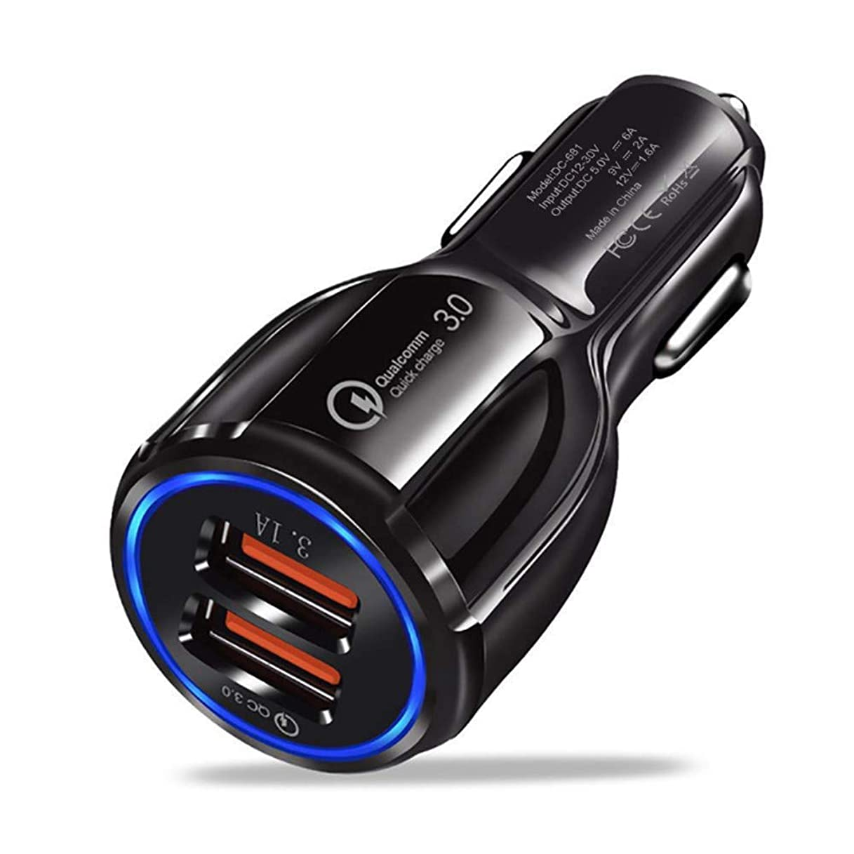 貫通する驚噂SNOWINSPRING デュアルUSB車の充電器 高速急速充電3.0 - デュアルポート充電アダプター iOSおよびAndroidデバイス用