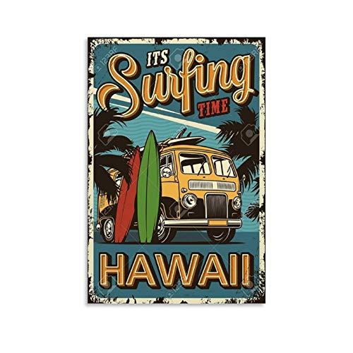 Hawaii Imagenes Vintage-Poster De Surf Vintage Poster Dekorative Malerei Leinwand Wandkunst Wohnzimmer Poster Schlafzimmer Gemälde 30 x 45 cm