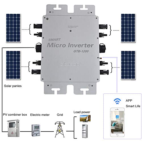 Pikasola WiFi Micro Solar Inverter 1200W MPPT with IP65 Waterproof, Grid Tie Inverter with 110V Pure Sine Wave AC Output,APP Monitor Solar Converter Connect 4 pcs 300W 22-50V Solar Panel