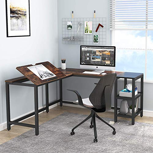 Tribesigns L Shaped Desk with Storage Shelves, 59 inch Large Corner Computer Office Desk Workstation, Drafting Table Drawing Desk with Tiltable Tabletop for Home Office, (Rustic Brown)