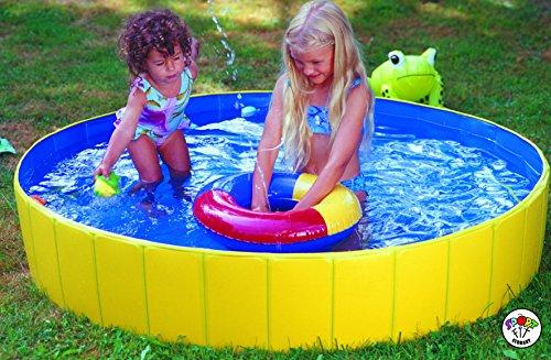 SportFit Falt Planschbecken Kinderpool Babypool Faltbar Wasserspaß Wasserspiel Abdeckplane (Falt-Planschbecken Set)