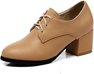 733f1572bb9 T-JULY Women s Fashion Oxfords Shoes - Comfy Lace-up High Heel Round Toe