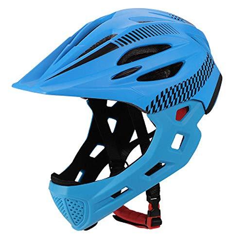 SFBBBO Casco Bicicleta Casco Desmontable para niños de Cara Completa para niños Casco para niños con mentonera y luz Trasera Protector de Seguridad para niños de Cara Completa S (42cm-52cm) Azul