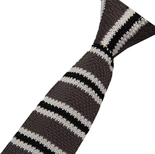 S.R HOME Cravate mince pour homme Rayure Grise Noire bout carré de 6cm