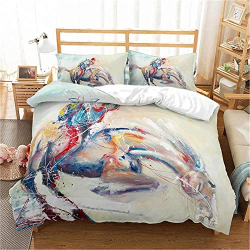 MENGBB 3D Cot Duvet Cover and Pillowcase Set Abstract colorful animals people 260x220cm Total 4 Size, give away pillowcase, 3D Bedding Set - Quilt Cover with Zipper Closure + Pillowcases, Microfiber D