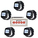 Retekess T128 Restaurant Pager System,Wireless Calling System,Wide Range,5 Watch Receiver,1 5-Key Call Button for Restaurant,Kitchen,Clinic,Factory