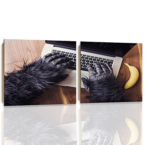 Feeby Frames, wandafbeelding - 2 delen - vierkante vorm, decoratieve afbeelding, gedrukt beeld, decoratief paneel, afbeelding, AFFE, Bananen, HANDE, computer, laptop, toetsenbord, toetsenbord, bureau, zwart Type K, 180x90 cm