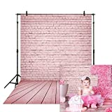 Allenjoy 5x7ft Pink Brick Wall with Wooden Floor Photography Backdrop for Newborn Baby Girl Princess Photoshoot Background Kids 1st Birthday Cake Smash Mother's Day Portrait Photo Booth Studio Props