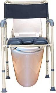 LZLYER Shower Chair Toilet Bathtub Portable Bedside Commode Chair, with Backrest and Armrests, Suitable for Obese Adults, Elderly, Pregnant Women, Disabled People