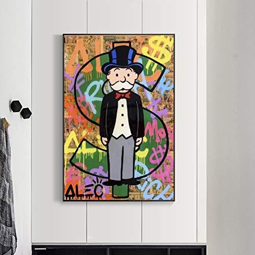wZUN Arte de Graffiti en la Pared Pintura de Carteles de Arte en Lienzo e Impresiones Imágenes de Arte de Pared Pop en la Sala de Estar 60x90 Sin Marco