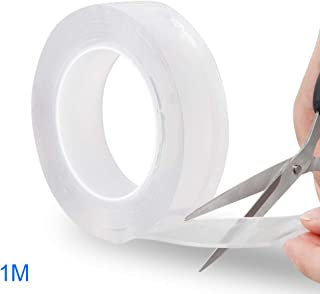 Transparentes Klebeband 1m-1Roll 1//3//5 m waschbar//spurlos Nano-Traceless fest Aubess Wandklebeband doppelseitig stark