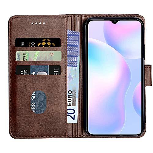 Baiyian Ledertasche Brieftasche Schutzhülle Flip Hülle für Xiaomi Redmi 9A, Braun