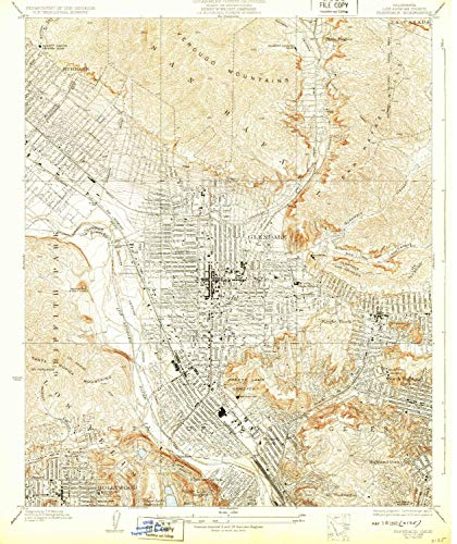 YellowMaps Glendale CA topo map, 1:24000 Scale, 7.5 X 7.5 Minute, Historical, 1928, Updated 1932, 20.3 x 17 in - Tyvek