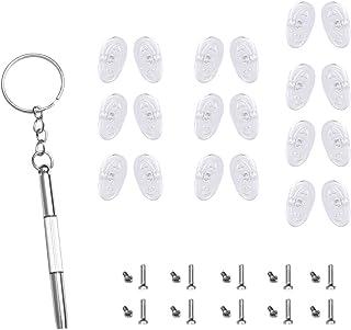 12.5mm Soft Silicone Nose Pads for Eyeglasses(Screw-in,10 Pairs)/Bonus 20 pcs Nose Pads Screws,1 Screwdriver Repair Kits